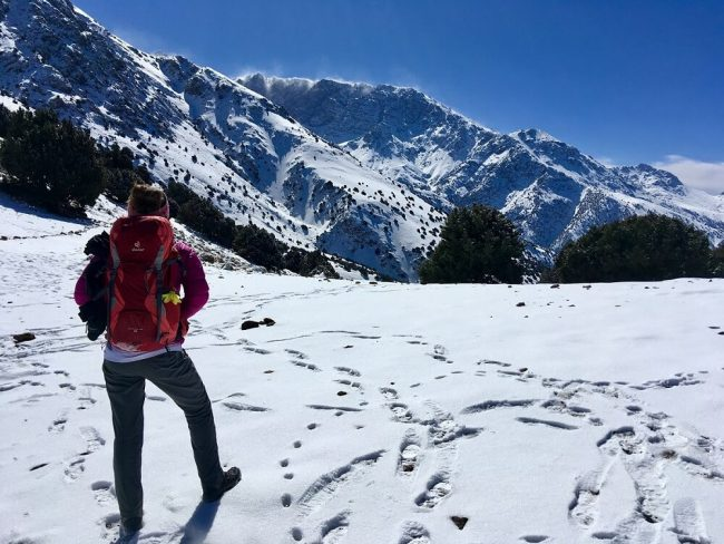 woman wearing dexter red backpack looking out at snow covered Atlas Mountains