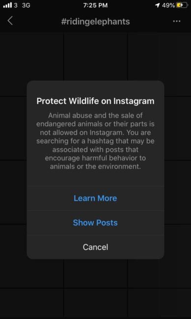 instagram protect wildlife pop up alert