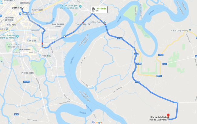 map from district 1 to scorpion lake ho chi minh city