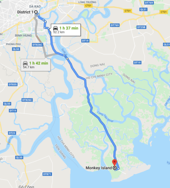 map of drive from district 1 to monkey island ho chi minh city Vietnam