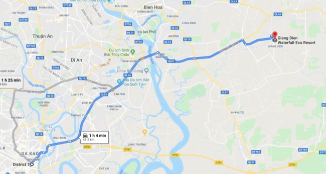 driving route from district 1 ho chi minh to Giang Den waterfalls
