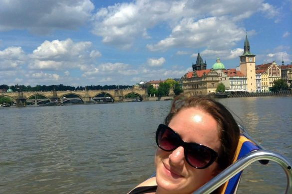Pedaling on the Vlatava river in Prague
