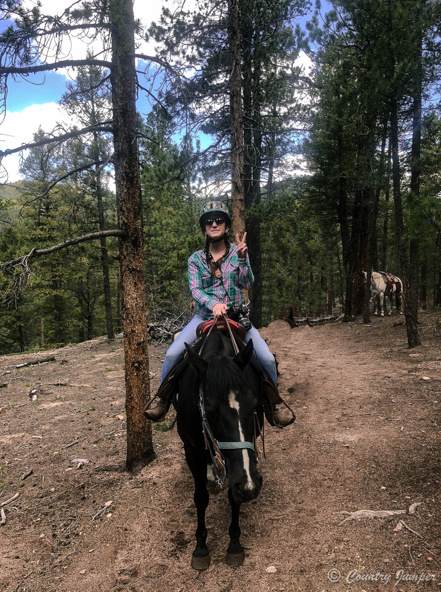 woman with helmet and plaid shirt sitting on black horse in forest