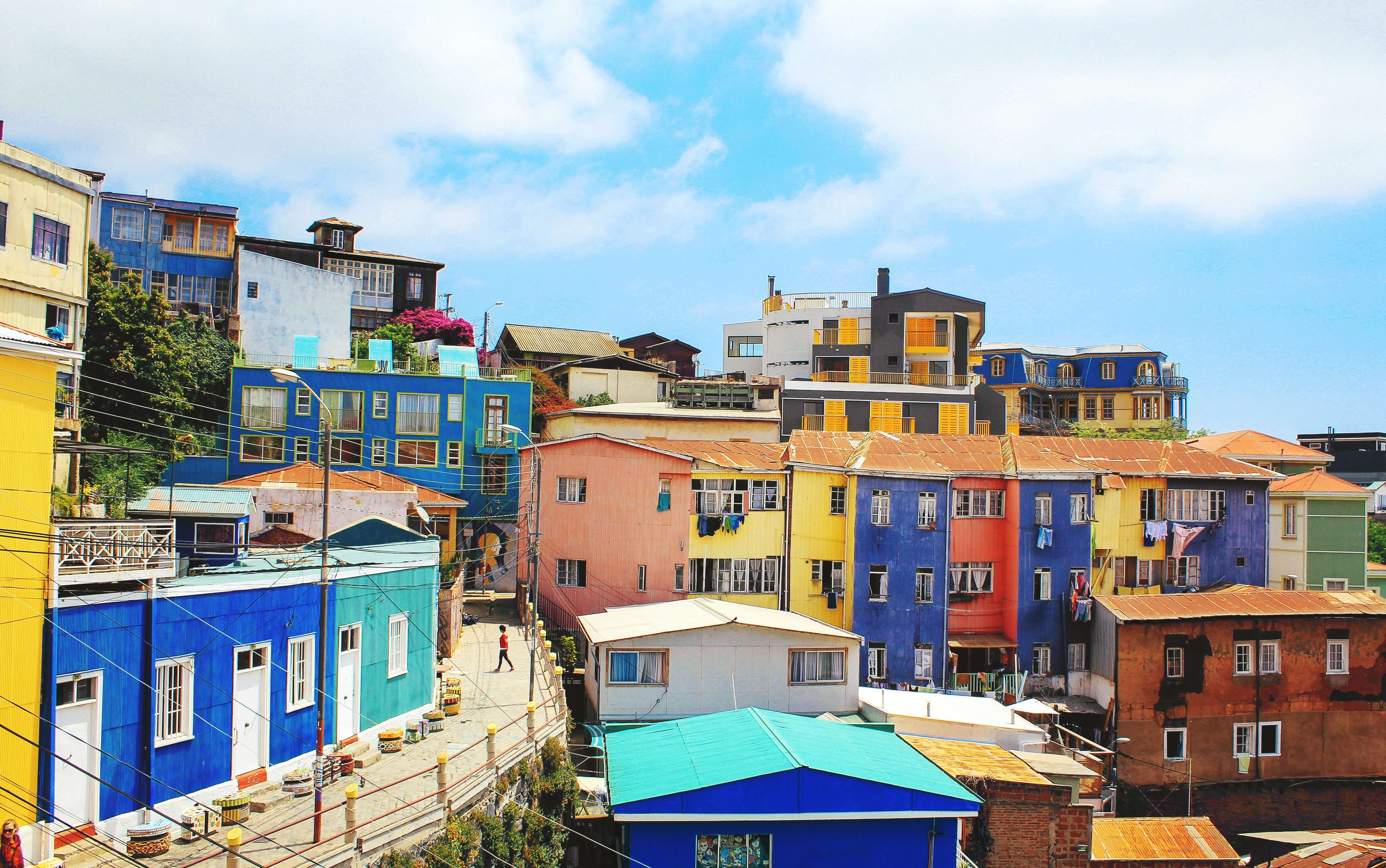 colorful homes on a hill
