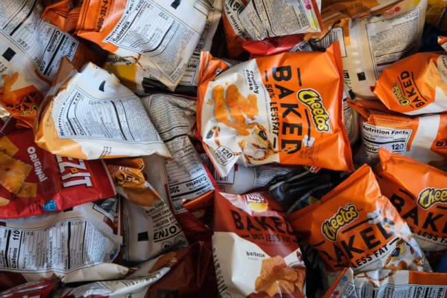 bags of chips and cheetos