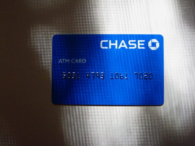 blue chase atm card against white background with shadow