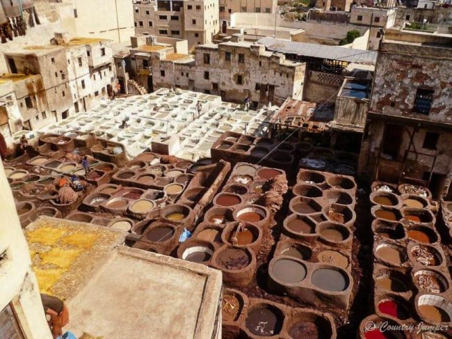 birds eye view of tanneries in fez, morocco