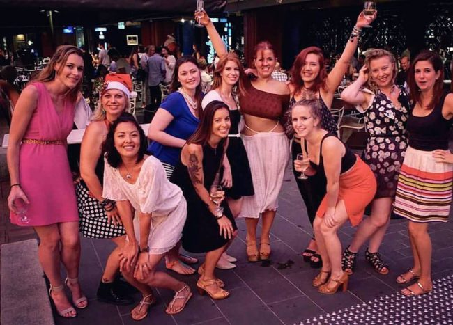 group of girls dressed up at Christmas party in sydney