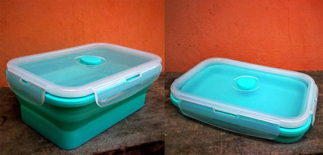 two blu collapsible food containers with lids
